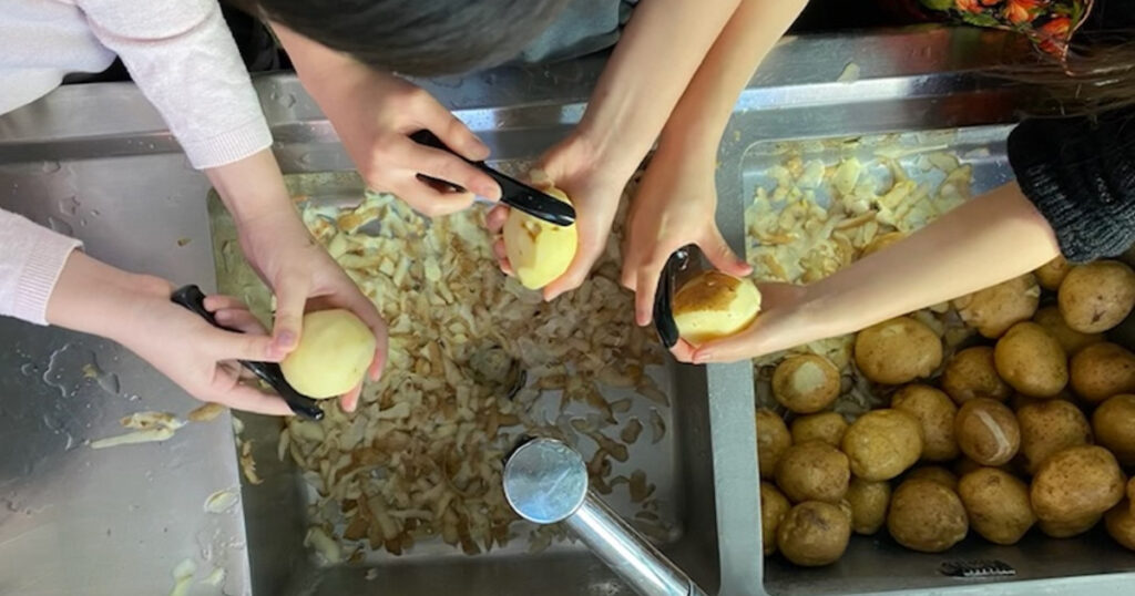 Potato Peeling by missionary kids at ILC Thanksgiving 2020-1200×630